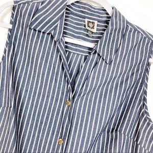 Anne Klein Bluish Gray and White Striped Button Up